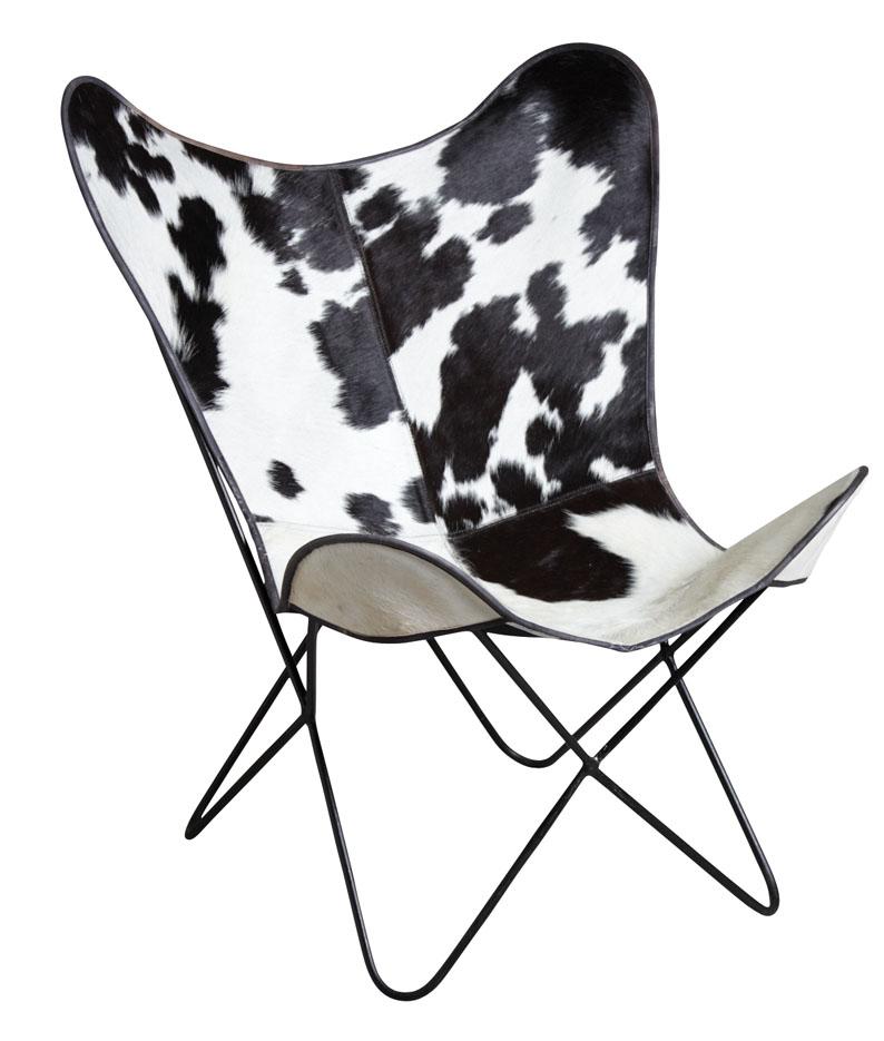 fauteuil-butterfly-peau-vache-noire-blanc